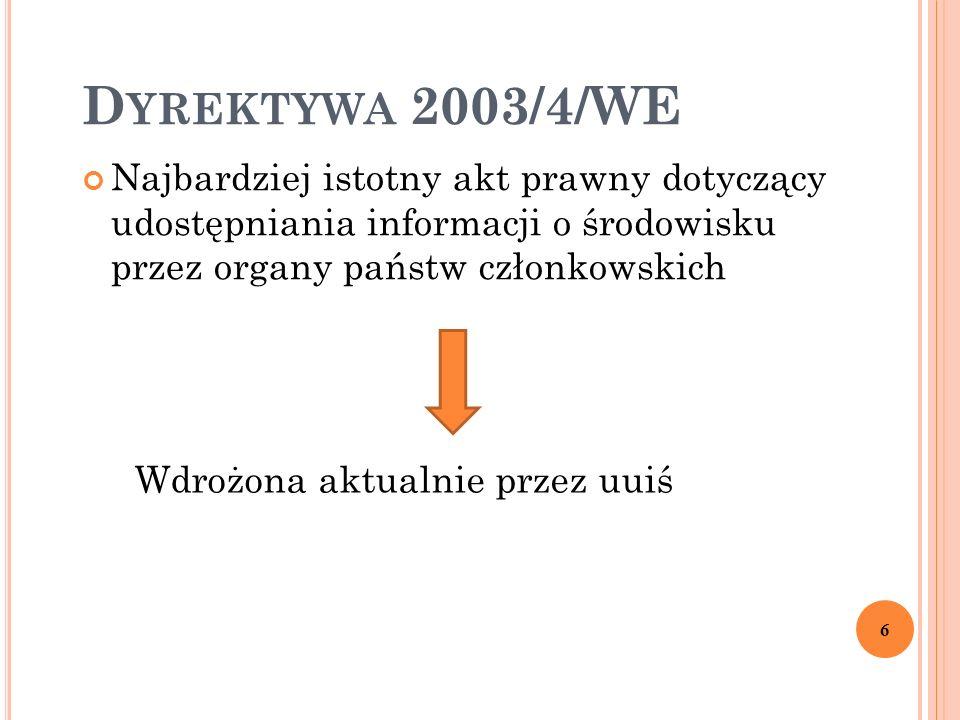 D YREKTYWA 2003/4/WE Najbardziej istotny akt prawny dotyczący udostępniania informacji o środowisku przez organy państw członkowskich 6 Wdrożona aktua