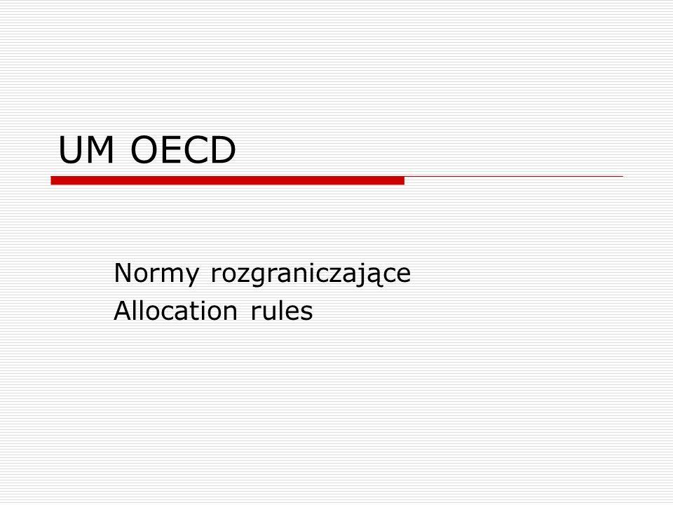 Klasyfikacja norm rozgraniczających  Dochody, które mogą być opodatkowane bez ograniczeń w państwie źródła  Dochody, które mogą być przedmiotem ograniczonego opodatkowania w państwie źródła  Dochody, które podlegają opodatkowaniu tylko w państwie rezydencji