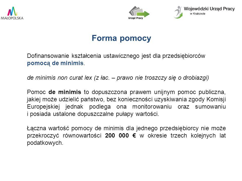 Dofinansowanie kształcenia ustawicznego jest dla przedsiębiorców pomocą de minimis.
