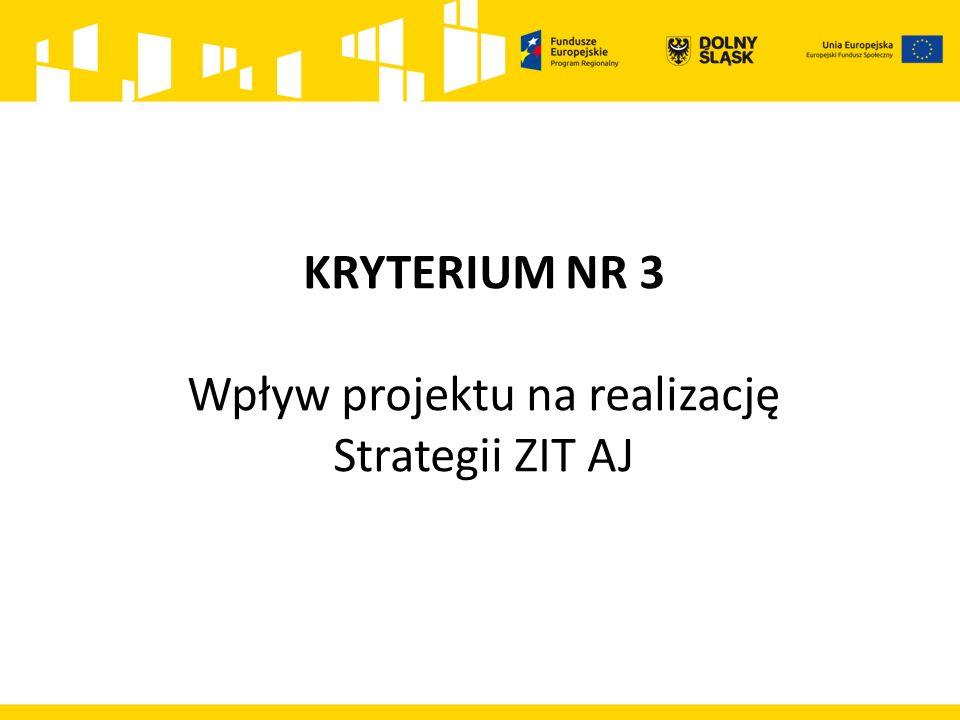 KRYTERIUM NR 3 Wpływ projektu na realizację Strategii ZIT AJ