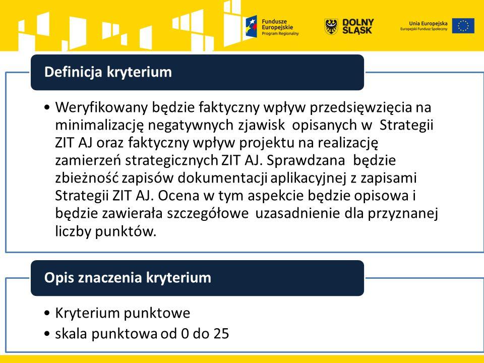 Weryfikowany będzie faktyczny wpływ przedsięwzięcia na minimalizację negatywnych zjawisk opisanych w Strategii ZIT AJ oraz faktyczny wpływ projektu na realizację zamierzeń strategicznych ZIT AJ.