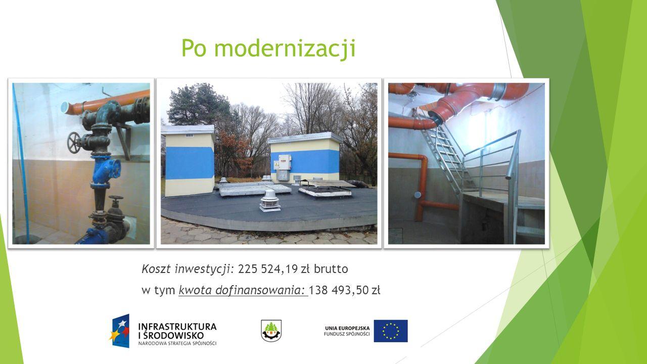 Po modernizacji Koszt inwestycji: 225 524,19 zł brutto w tym kwota dofinansowania: 138 493,50 zł