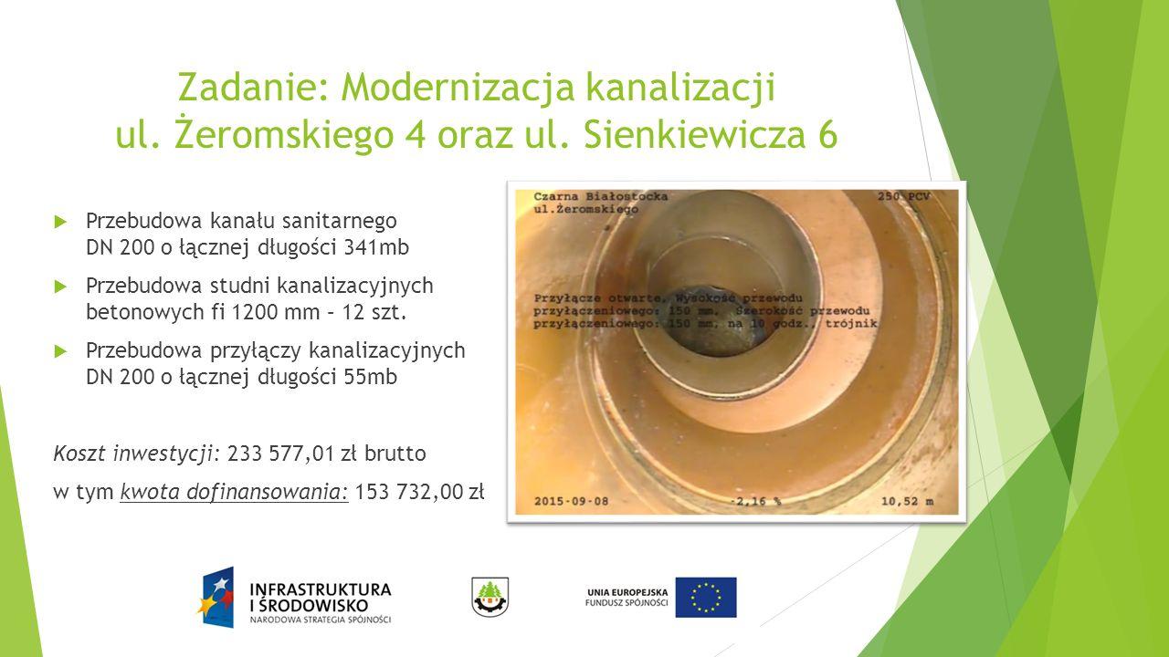 Zadanie: Modernizacja kanalizacji ul. Żeromskiego 4 oraz ul. Sienkiewicza 6  Przebudowa kanału sanitarnego DN 200 o łącznej długości 341mb  Przebudo