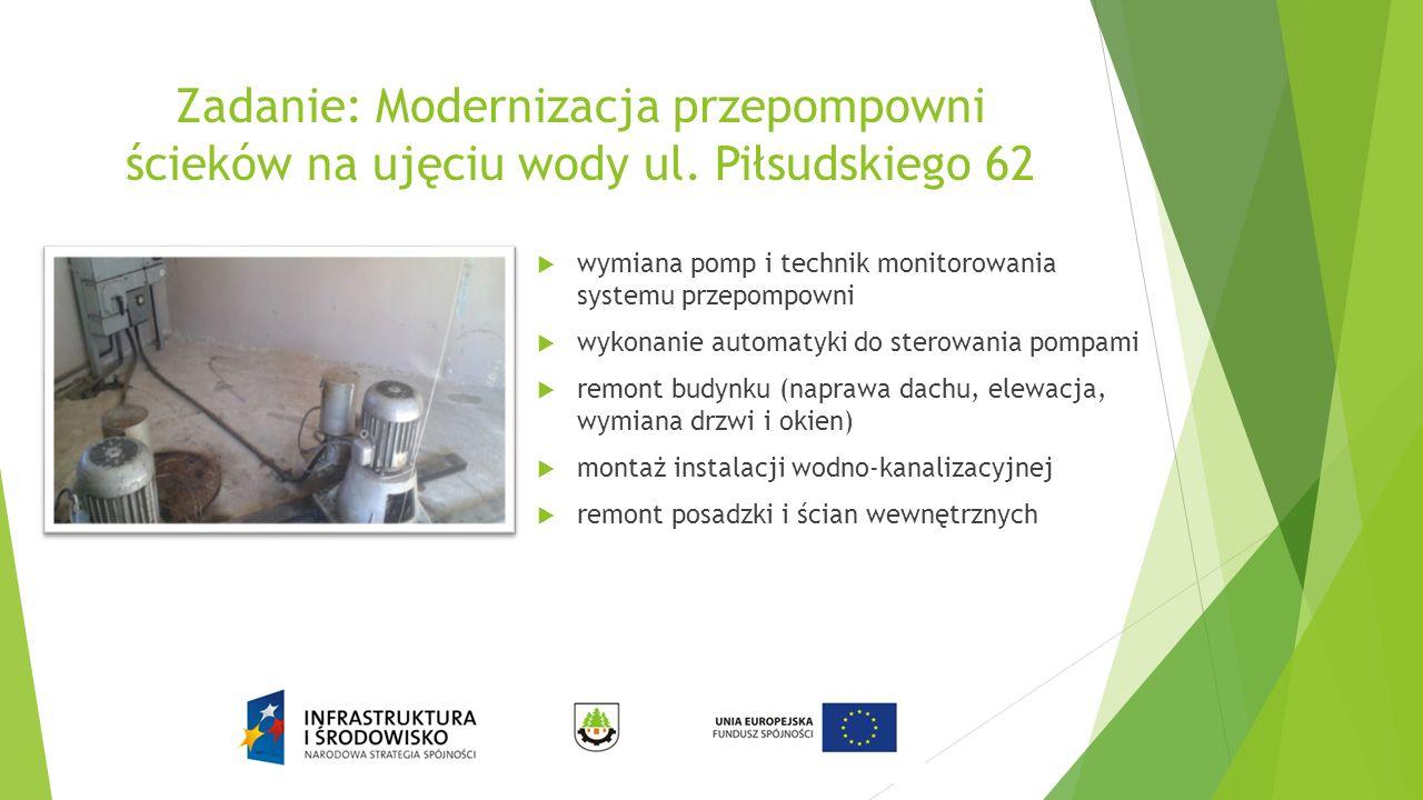 Zadanie: Modernizacja przepompowni ścieków na ujęciu wody ul. Piłsudskiego 62  wymiana pomp i technik monitorowania systemu przepompowni  wykonanie