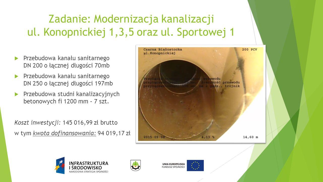 Zadanie: Modernizacja kanalizacji ul. Konopnickiej 1,3,5 oraz ul. Sportowej 1  Przebudowa kanału sanitarnego DN 200 o łącznej długości 70mb  Przebud