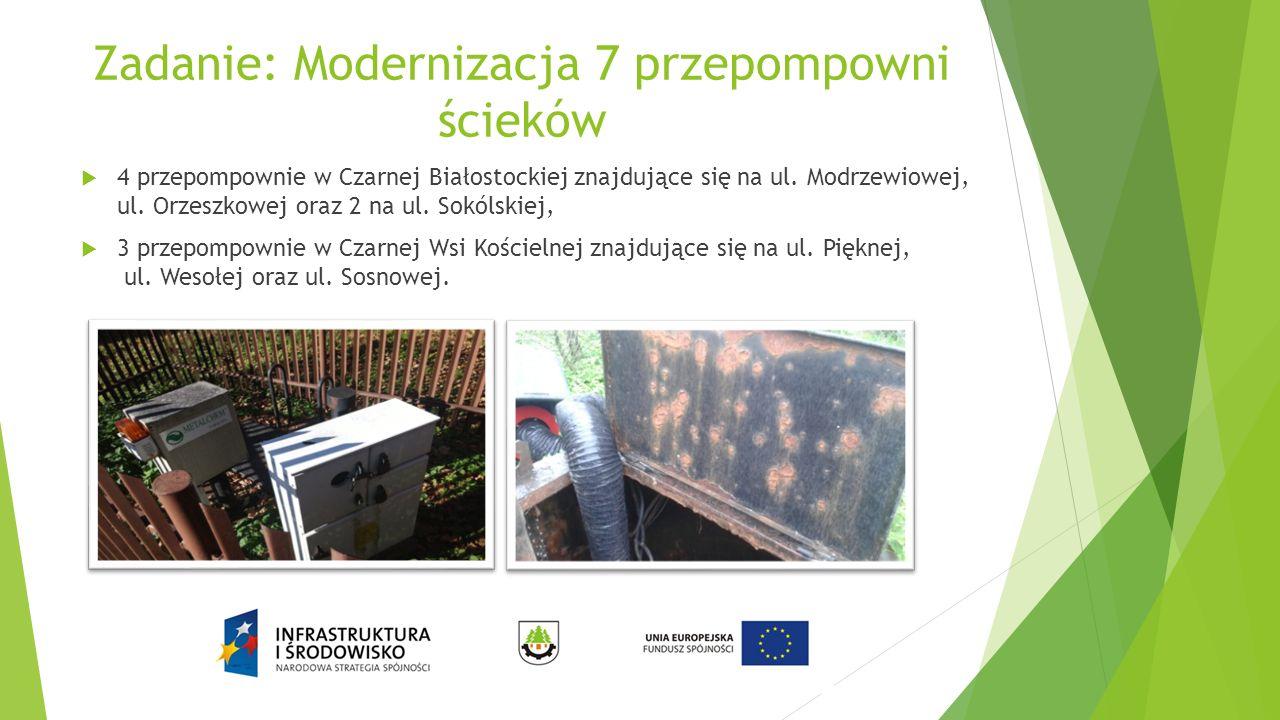 Zadanie: Modernizacja 7 przepompowni ścieków  4 przepompownie w Czarnej Białostockiej znajdujące się na ul. Modrzewiowej, ul. Orzeszkowej oraz 2 na u