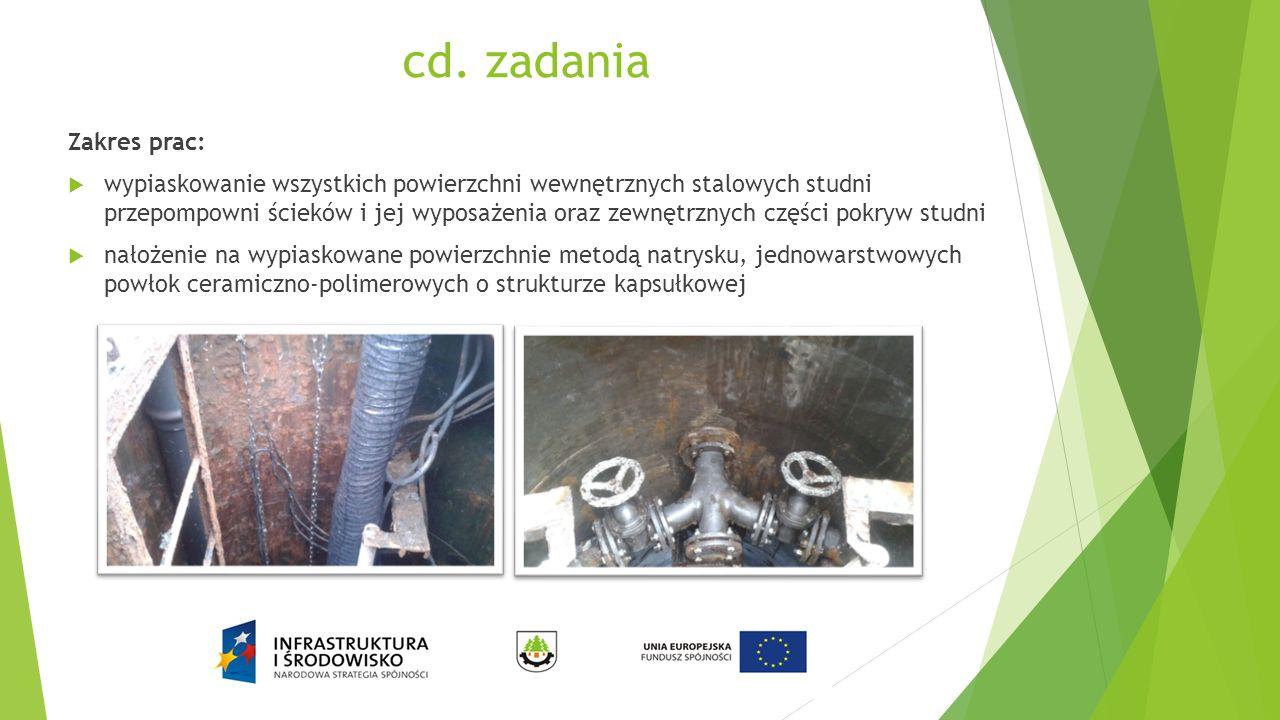 cd. zadania Zakres prac:  wypiaskowanie wszystkich powierzchni wewnętrznych stalowych studni przepompowni ścieków i jej wyposażenia oraz zewnętrznych