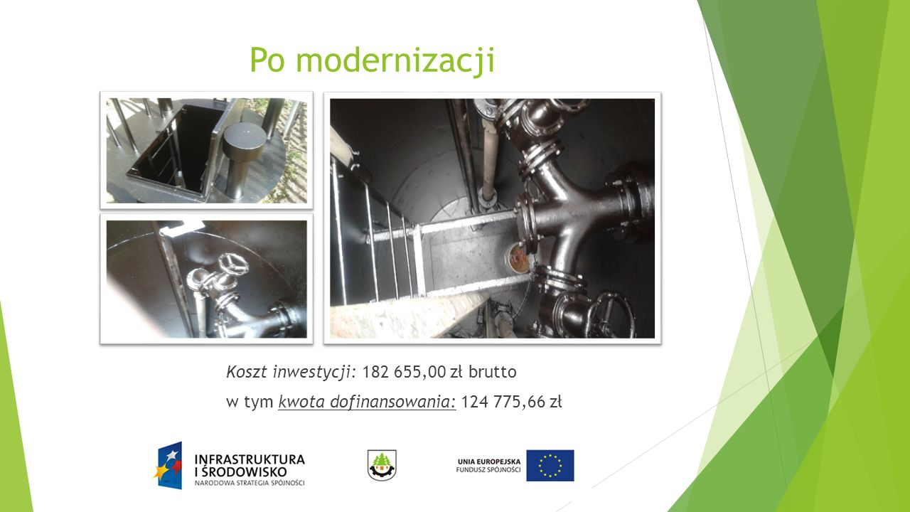 Po modernizacji Koszt inwestycji: 182 655,00 zł brutto w tym kwota dofinansowania: 124 775,66 zł