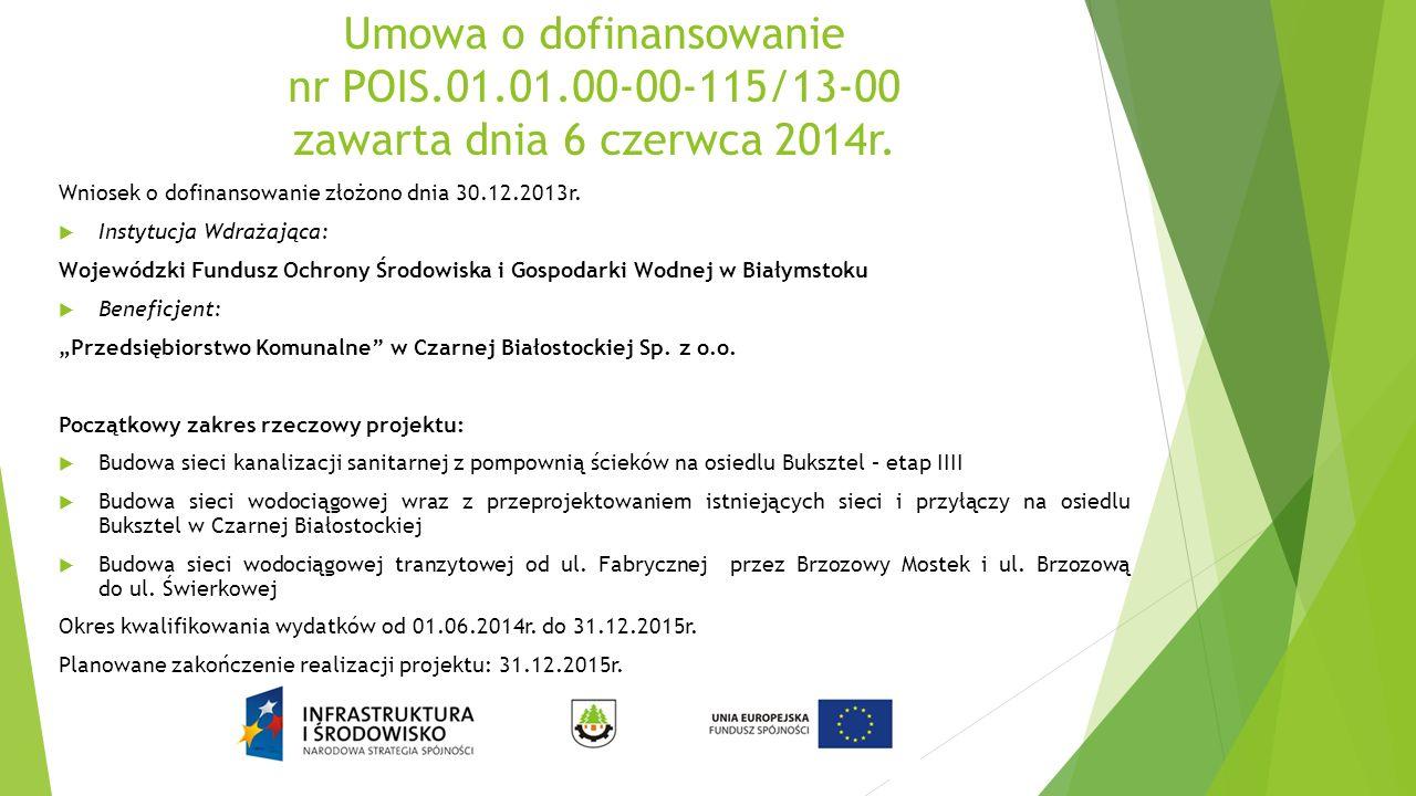 Umowa o dofinansowanie nr POIS.01.01.00-00-115/13-00 zawarta dnia 6 czerwca 2014r. Wniosek o dofinansowanie złożono dnia 30.12.2013r.  Instytucja Wdr