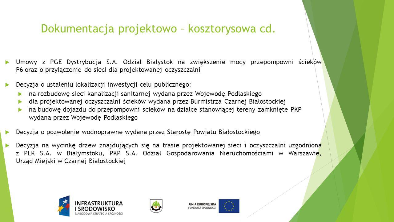 Dokumentacja projektowo – kosztorysowa cd.  Umowy z PGE Dystrybucja S.A. Odział Białystok na zwiększenie mocy przepompowni ścieków P6 oraz o przyłącz