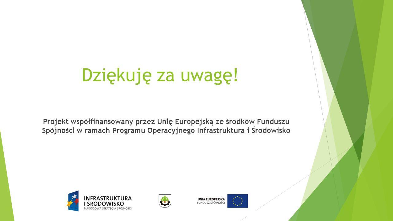Dziękuję za uwagę! Projekt współfinansowany przez Unię Europejską ze środków Funduszu Spójności w ramach Programu Operacyjnego Infrastruktura i Środow