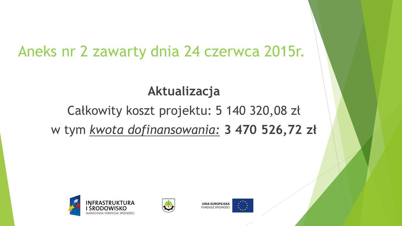 Aneks nr 2 zawarty dnia 24 czerwca 2015r. Aktualizacja Całkowity koszt projektu: 5 140 320,08 zł w tym kwota dofinansowania: 3 470 526,72 zł