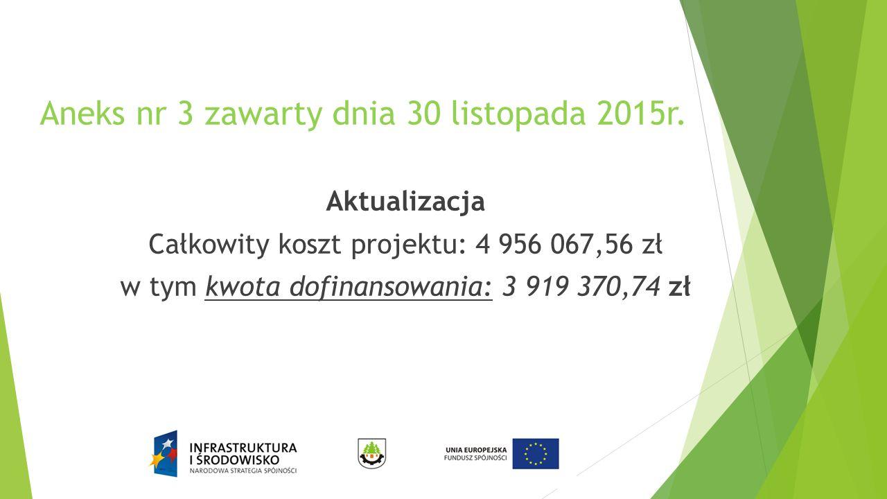 Aneks nr 3 zawarty dnia 30 listopada 2015r. Aktualizacja Całkowity koszt projektu: 4 956 067,56 zł w tym kwota dofinansowania: 3 919 370,74 zł
