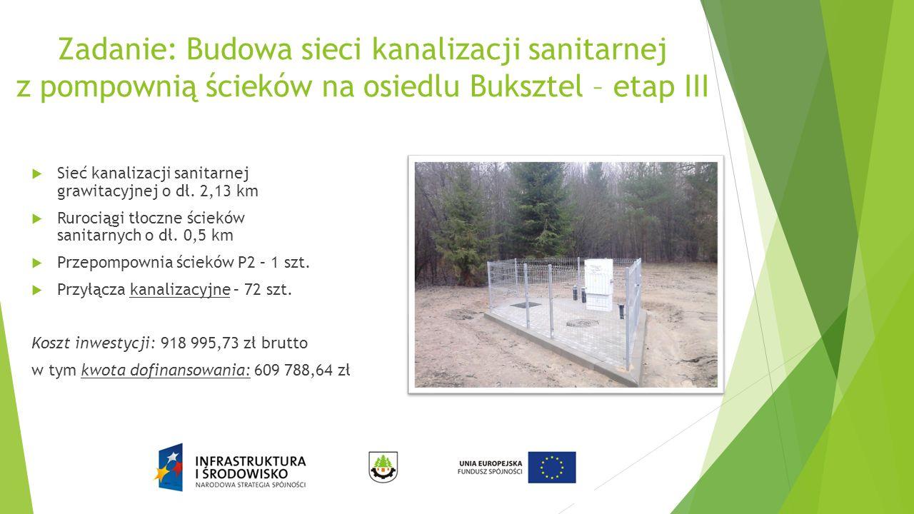 Zadanie: Budowa sieci kanalizacji sanitarnej z pompownią ścieków na osiedlu Buksztel – etap III  Sieć kanalizacji sanitarnej grawitacyjnej o dł.
