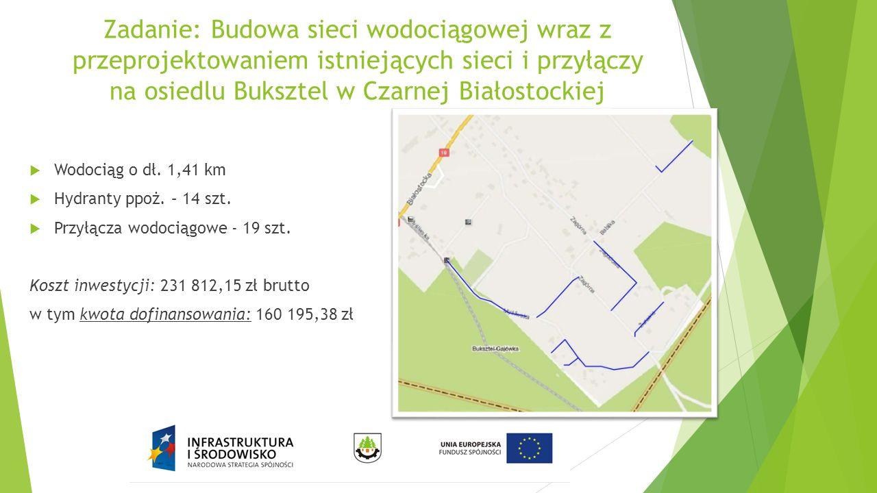 Zadanie: Budowa sieci wodociągowej wraz z przeprojektowaniem istniejących sieci i przyłączy na osiedlu Buksztel w Czarnej Białostockiej  Wodociąg o d