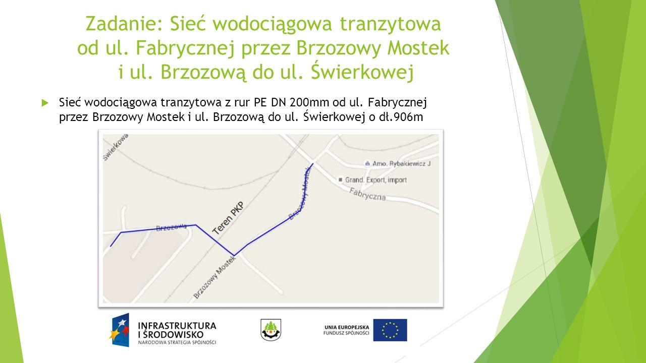 Zadanie: Sieć wodociągowa tranzytowa od ul.Fabrycznej przez Brzozowy Mostek i ul.