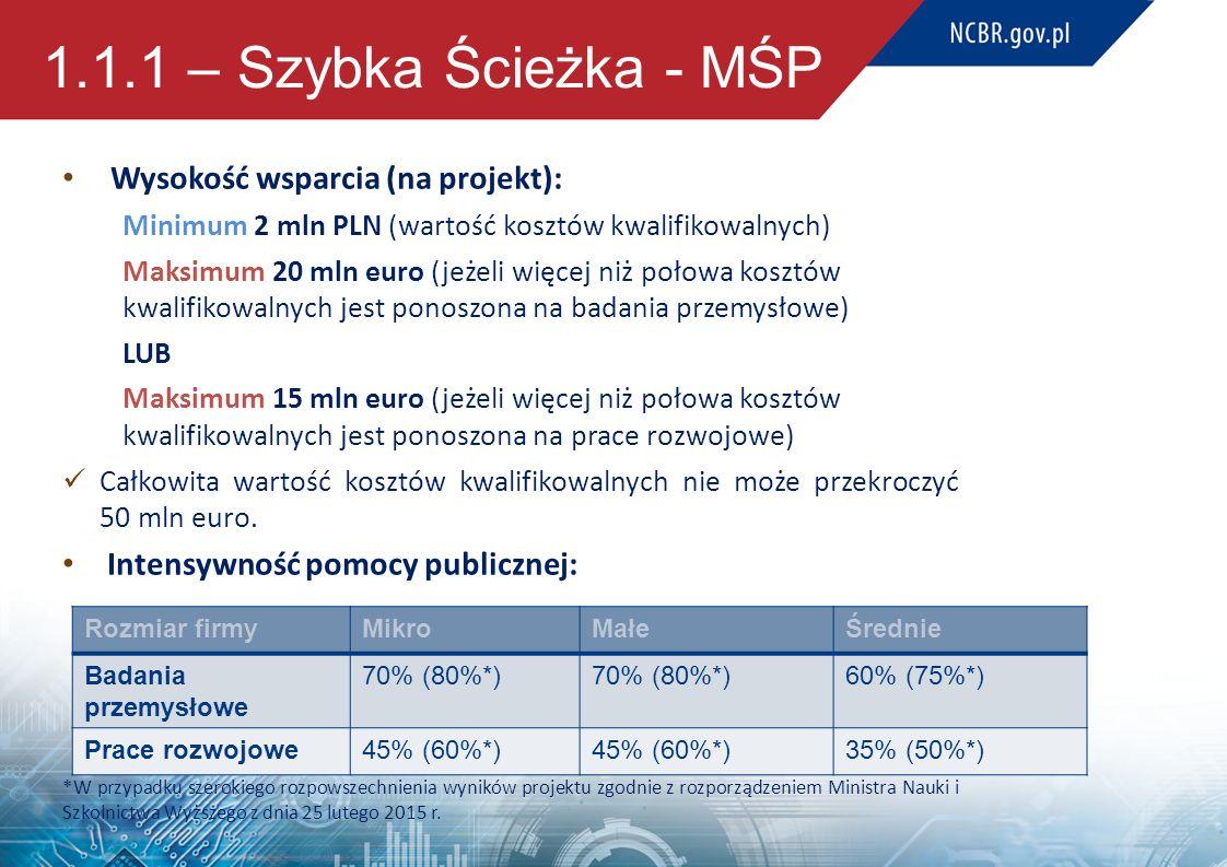 1.1.1 – Szybka Ścieżka - MŚP Wysokość wsparcia (na projekt): Minimum 2 mln PLN (wartość kosztów kwalifikowalnych) Maksimum 20 mln euro (jeżeli więcej