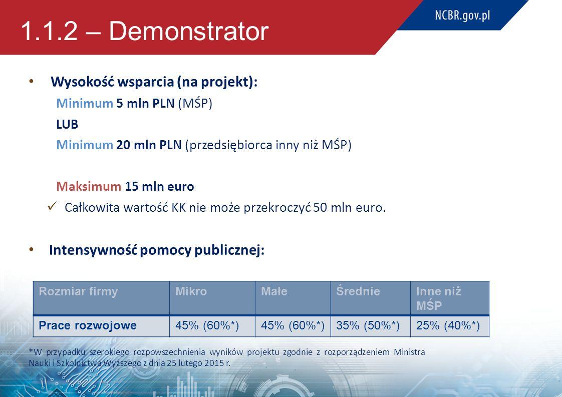1.1.2 – Demonstrator Wysokość wsparcia (na projekt): Minimum 5 mln PLN (MŚP) LUB Minimum 20 mln PLN (przedsiębiorca inny niż MŚP) Maksimum 15 mln euro