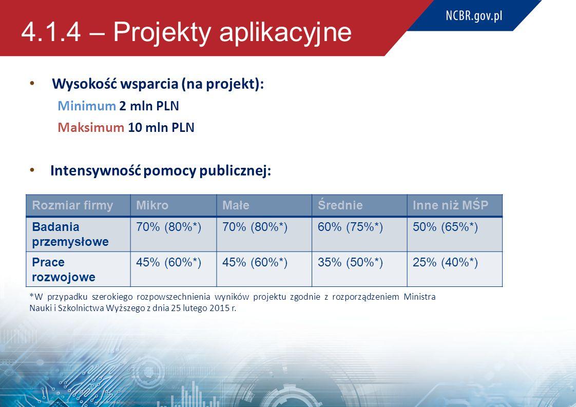 4.1.4 – Projekty aplikacyjne Wysokość wsparcia (na projekt): Minimum 2 mln PLN Maksimum 10 mln PLN Intensywność pomocy publicznej: *W przypadku szerok