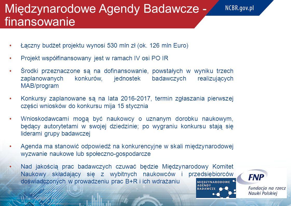 Międzynarodowe Agendy Badawcze - finansowanie Łączny budżet projektu wynosi 530 mln zł (ok. 126 mln Euro) Projekt współfinansowany jest w ramach IV os