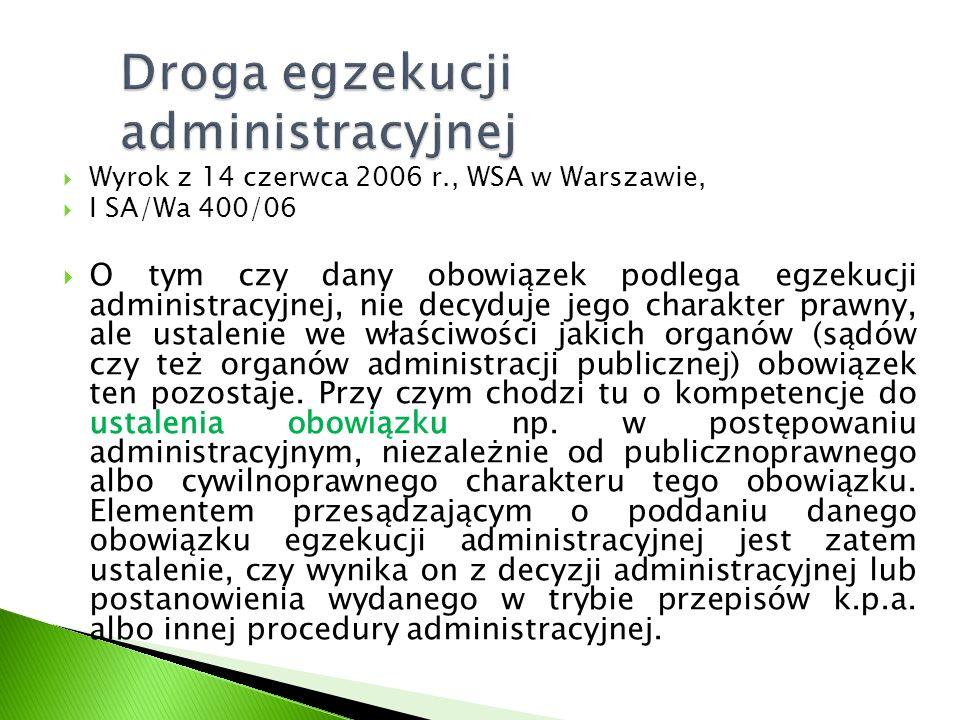  Wyrok z 14 czerwca 2006 r., WSA w Warszawie,  I SA/Wa 400/06  O tym czy dany obowiązek podlega egzekucji administracyjnej, nie decyduje jego chara