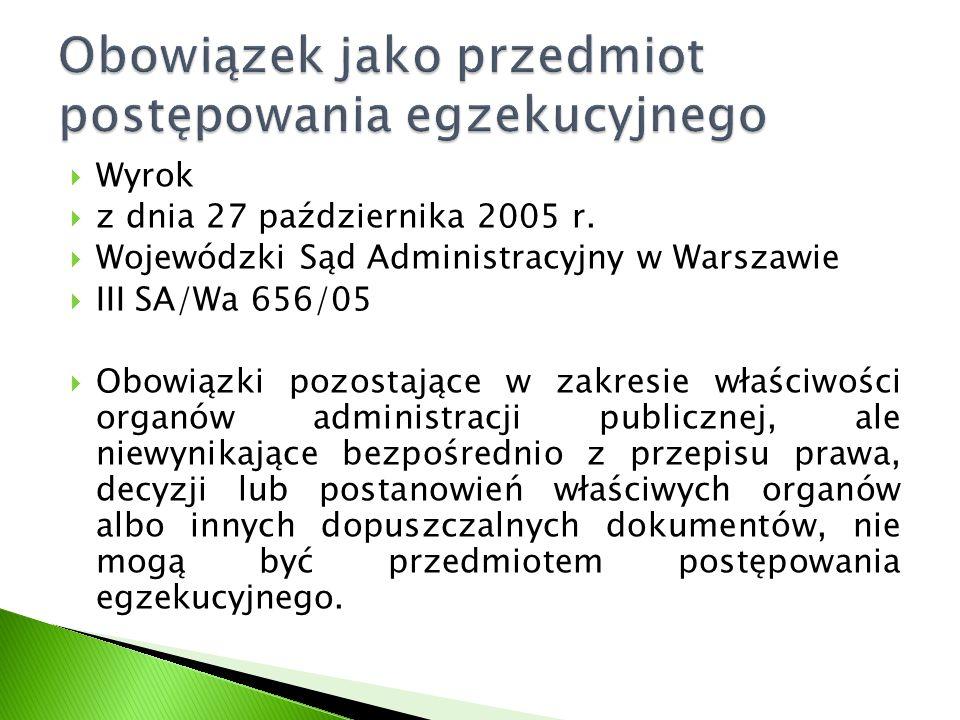  Wyrok  z dnia 27 października 2005 r.  Wojewódzki Sąd Administracyjny w Warszawie  III SA/Wa 656/05  Obowiązki pozostające w zakresie właściwośc