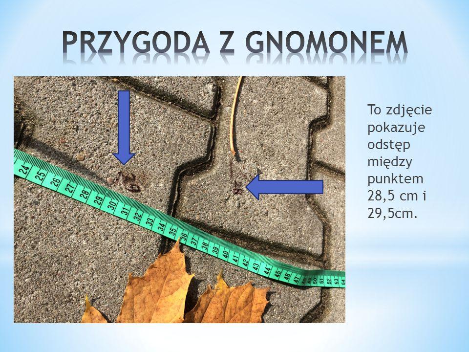 To zdjęcie pokazuje odstęp między punktem 28,5 cm i 29,5cm.