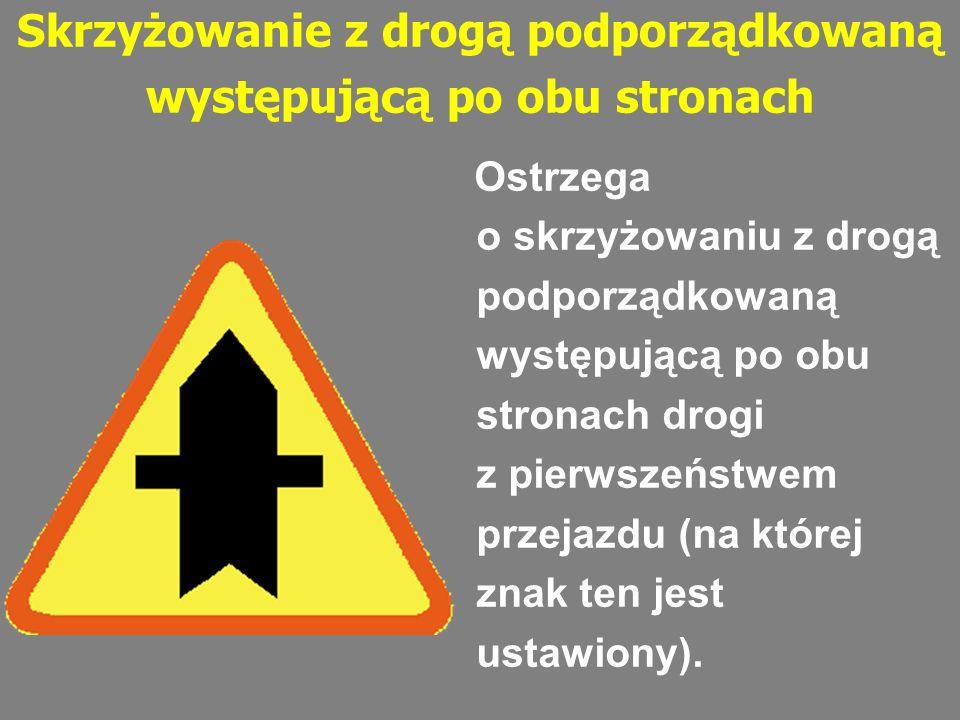 Skrzyżowanie z drogą podporządkowaną występującą po obu stronach Ostrzega o skrzyżowaniu z drogą podporządkowaną występującą po obu stronach drogi z p
