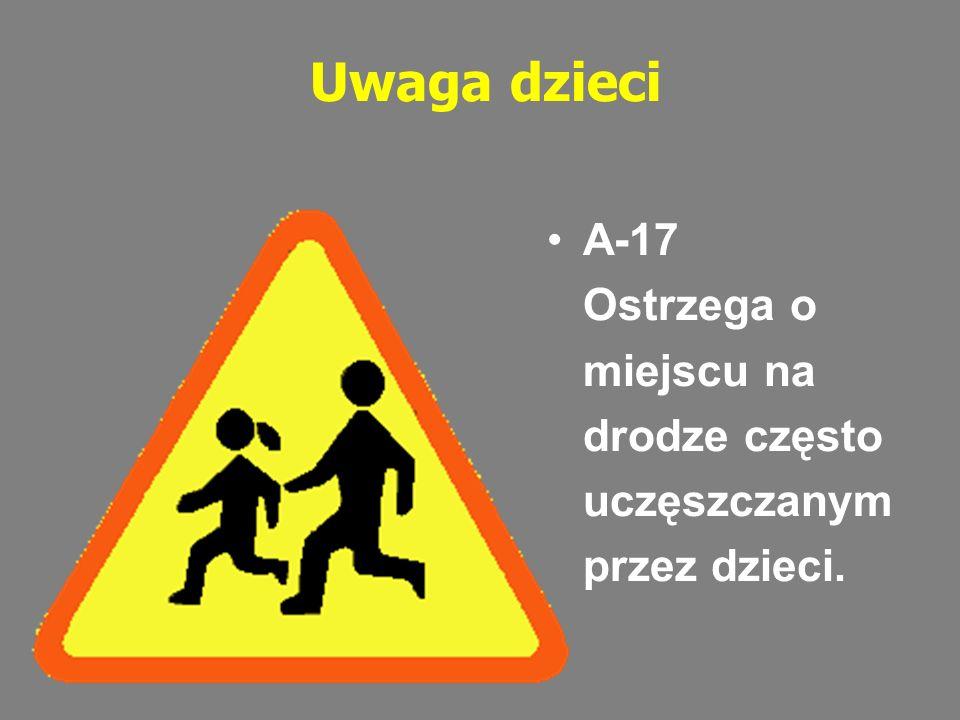 Uwaga dzieci A-17 Ostrzega o miejscu na drodze często uczęszczanym przez dzieci.