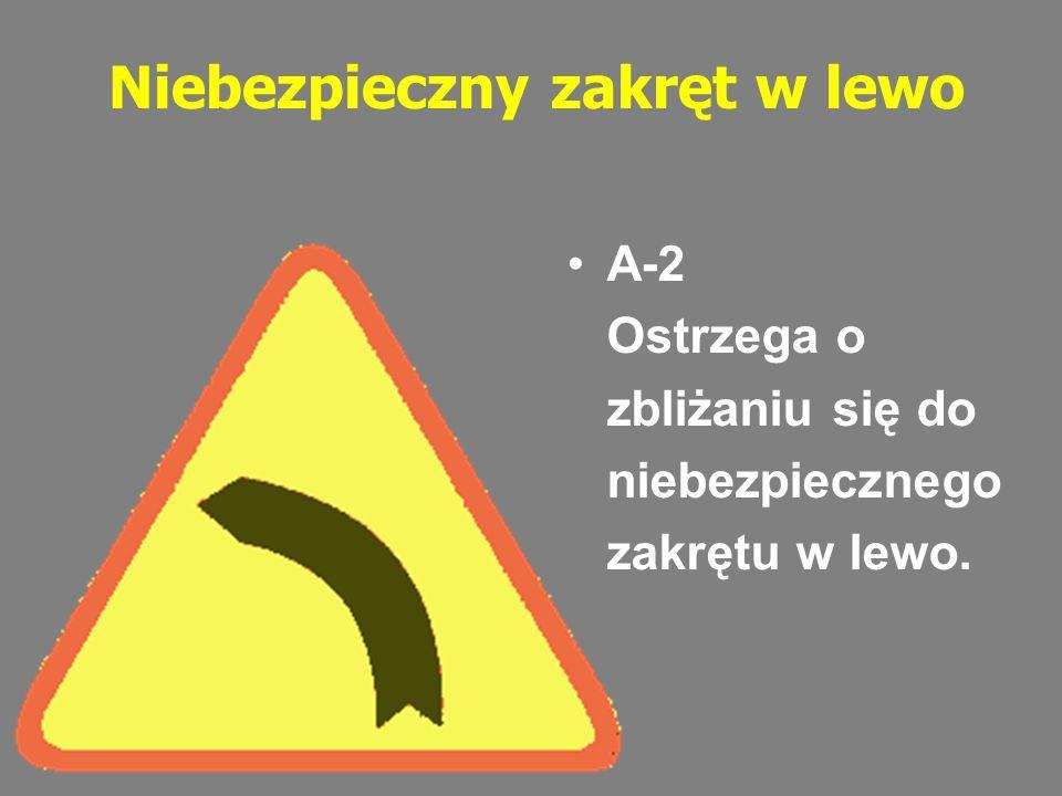 Dwa niebezpieczne zakręty - pierwszy w prawo Ostrzega o zbliżaniu się do dwóch następujących po sobie niebezpiecznych zakrętów.