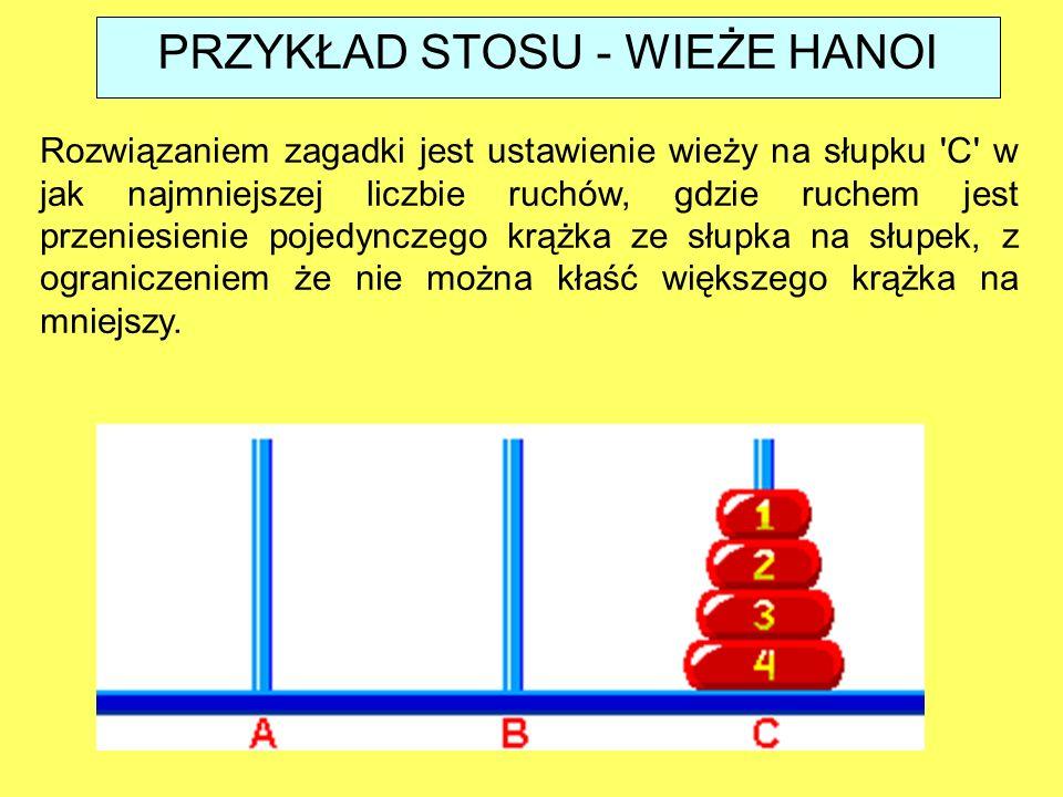 Rozwiązaniem zagadki jest ustawienie wieży na słupku C w jak najmniejszej liczbie ruchów, gdzie ruchem jest przeniesienie pojedynczego krążka ze słupka na słupek, z ograniczeniem że nie można kłaść większego krążka na mniejszy.