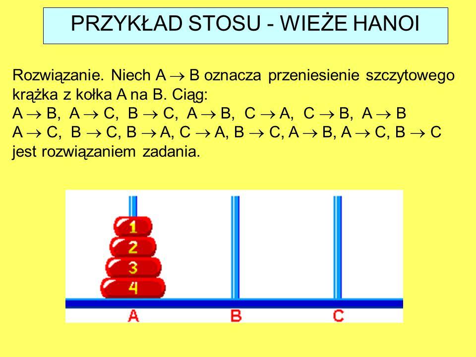 Rozwiązanie. Niech A  B oznacza przeniesienie szczytowego krążka z kołka A na B. Ciąg: A  B, A  C, B  C, A  B, C  A, C  B, A  B A  C, B  C,