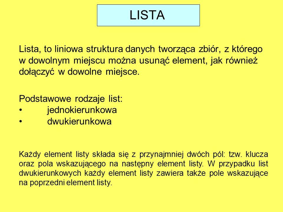 LISTA Lista, to liniowa struktura danych tworząca zbiór, z którego w dowolnym miejscu można usunąć element, jak również dołączyć w dowolne miejsce.