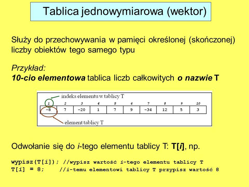 Służy do przechowywania w pamięci określonej (skończonej) liczby obiektów tego samego typu Przykład: 10-cio elementowa tablica liczb całkowitych o nazwie T Odwołanie się do i-tego elementu tablicy T: T[i], np.