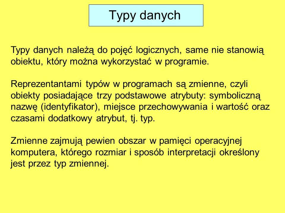 Typy danych należą do pojęć logicznych, same nie stanowią obiektu, który można wykorzystać w programie.