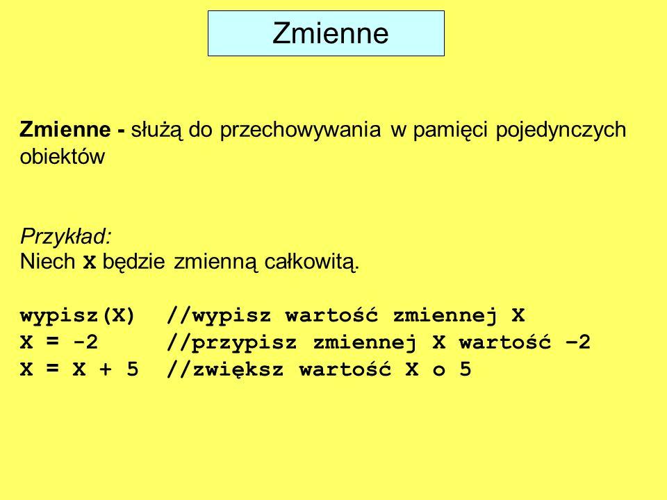 Zmienne Zmienne - służą do przechowywania w pamięci pojedynczych obiektów Przykład: Niech X będzie zmienną całkowitą. wypisz(X) //wypisz wartość zmien