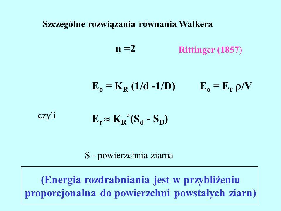 Szczególne rozwiązania równania Walkera n =2 E o = K R (1/d -1/D) czyli E r  K R * (S d - S D ) S - powierzchnia ziarna Rittinger (1857) (Energia rozdrabniania jest w przybliżeniu proporcjonalna do powierzchni powstałych ziarn) E o = E r  /V
