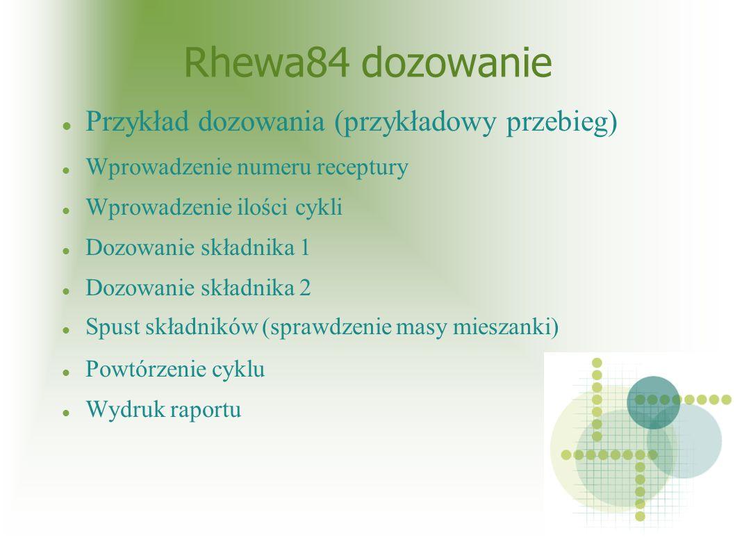 Rhewa84 dozowanie Przykład dozowania (przykładowy przebieg) Wprowadzenie numeru receptury Wprowadzenie ilości cykli Dozowanie składnika 1 Dozowanie składnika 2 Spust składników (sprawdzenie masy mieszanki) Powtórzenie cyklu Wydruk raportu