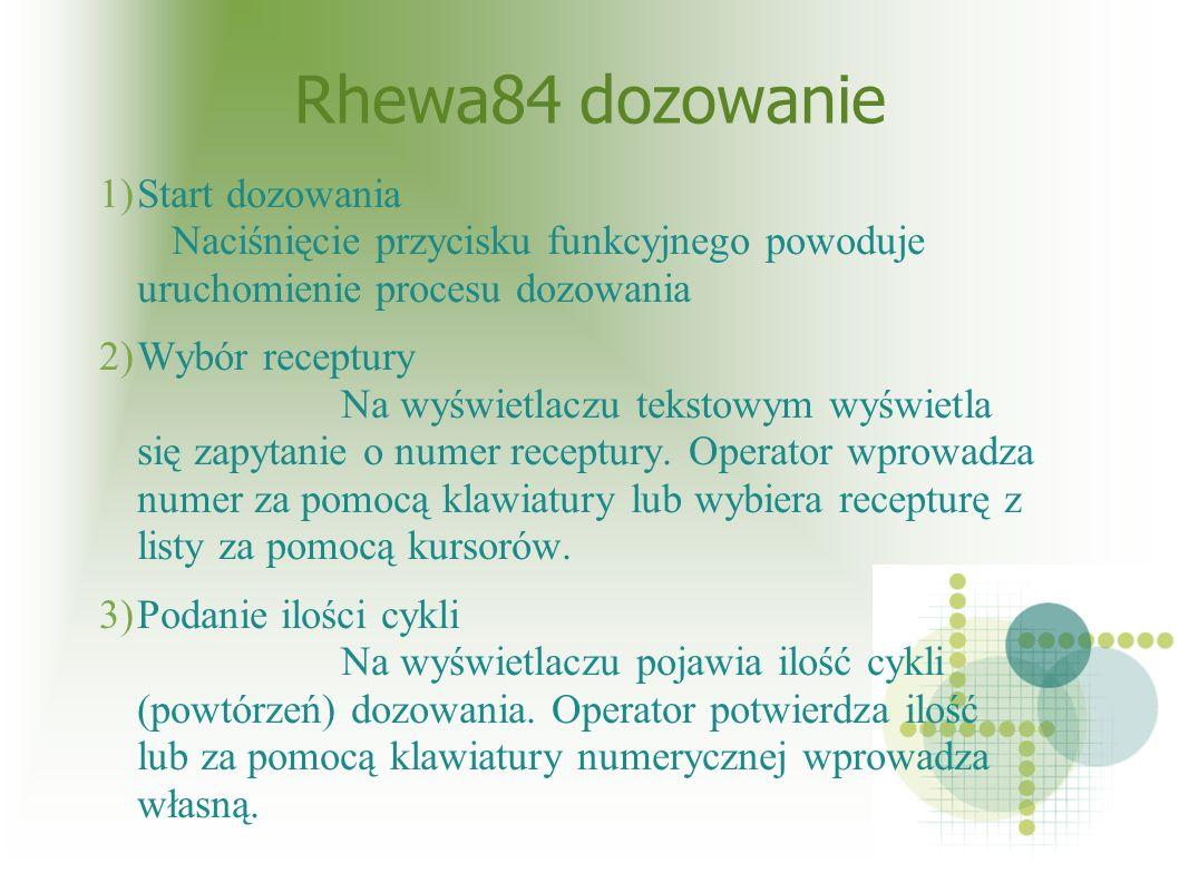 Rhewa84 dozowanie 1)Start dozowania Naciśnięcie przycisku funkcyjnego powoduje uruchomienie procesu dozowania 2)Wybór receptury Na wyświetlaczu tekstowym wyświetla się zapytanie o numer receptury.