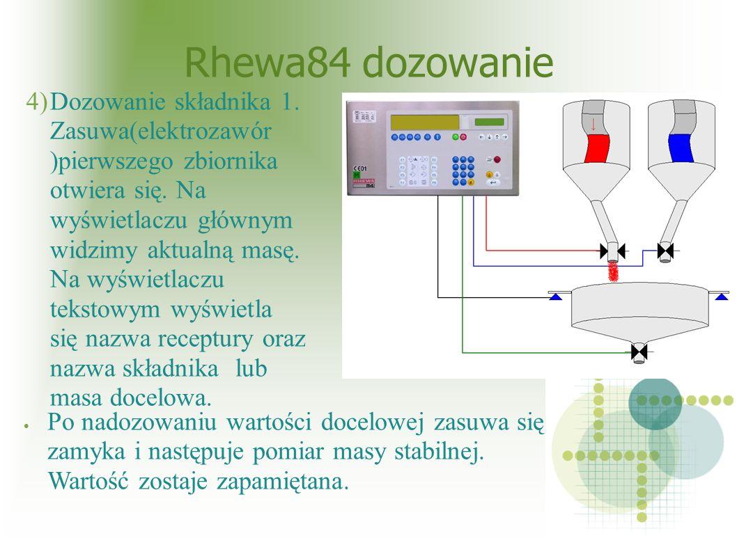 Rhewa84 dozowanie 4)Dozowanie składnika 1. Zasuwa(elektrozawór )pierwszego zbiornika otwiera się.
