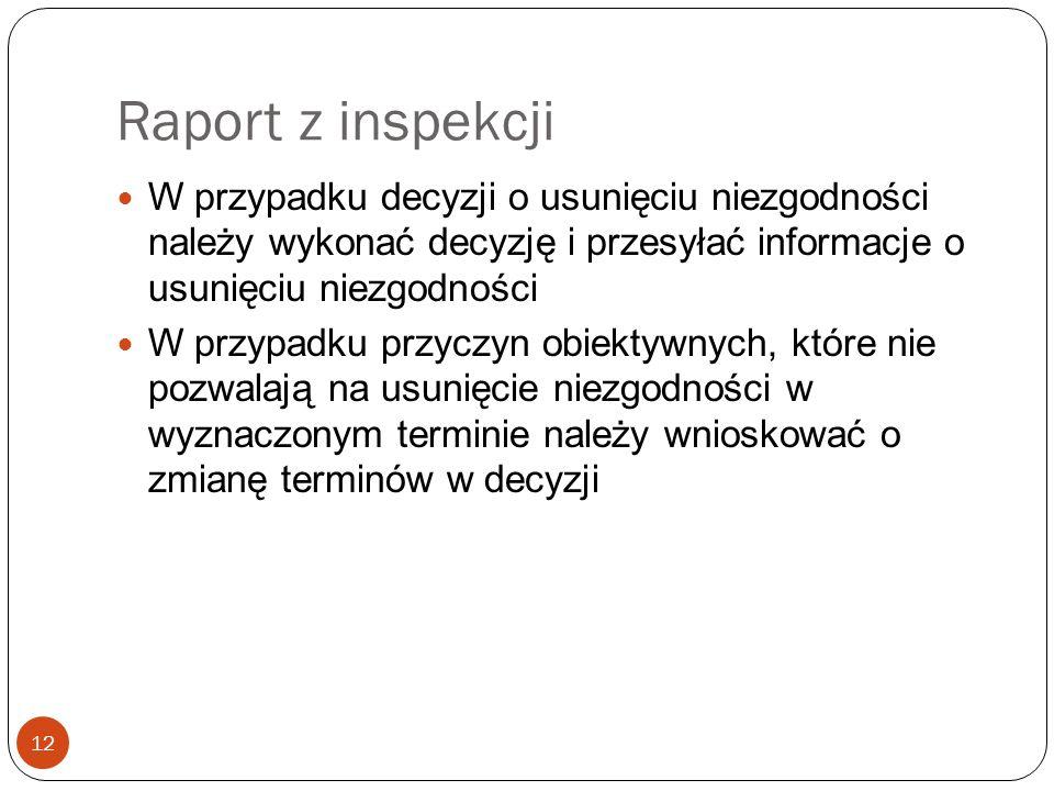 Raport z inspekcji 12 W przypadku decyzji o usunięciu niezgodności należy wykonać decyzję i przesyłać informacje o usunięciu niezgodności W przypadku