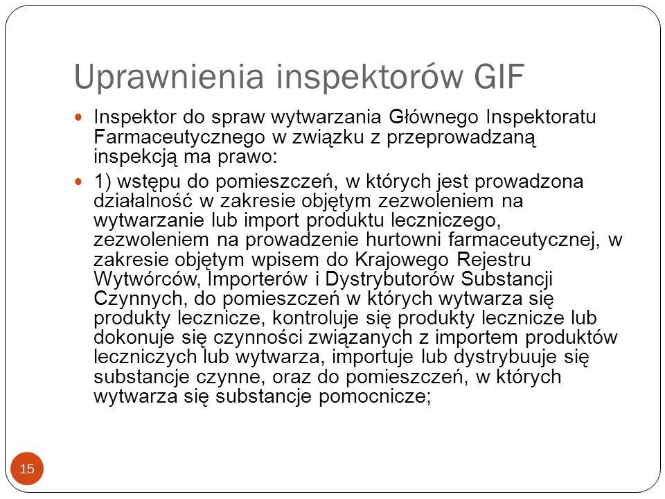 Uprawnienia inspektorów GIF 15 Inspektor do spraw wytwarzania Głównego Inspektoratu Farmaceutycznego w związku z przeprowadzaną inspekcją ma prawo: 1)