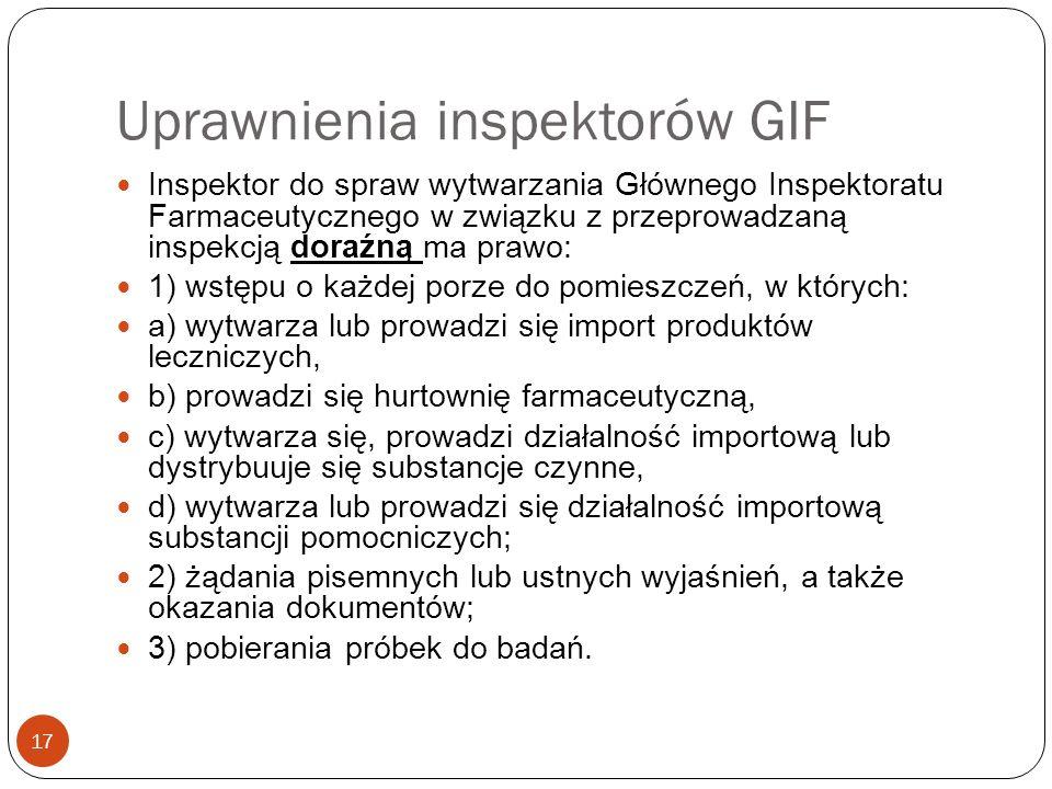 Uprawnienia inspektorów GIF 17 Inspektor do spraw wytwarzania Głównego Inspektoratu Farmaceutycznego w związku z przeprowadzaną inspekcją doraźną ma p