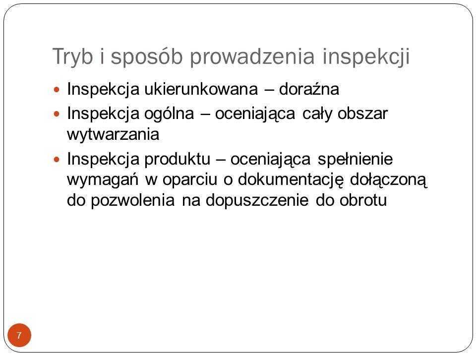 Tryb i sposób prowadzenia inspekcji 7 Inspekcja ukierunkowana – doraźna Inspekcja ogólna – oceniająca cały obszar wytwarzania Inspekcja produktu – oce