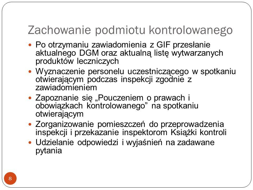 Uprawnienia podmiotu kontrolowanego 19 Kontrolowany ma prawo do: 1) uczestniczenia w czynnościach w ramach inspekcji, chyba że zrezygnuje z tego uprawnienia.