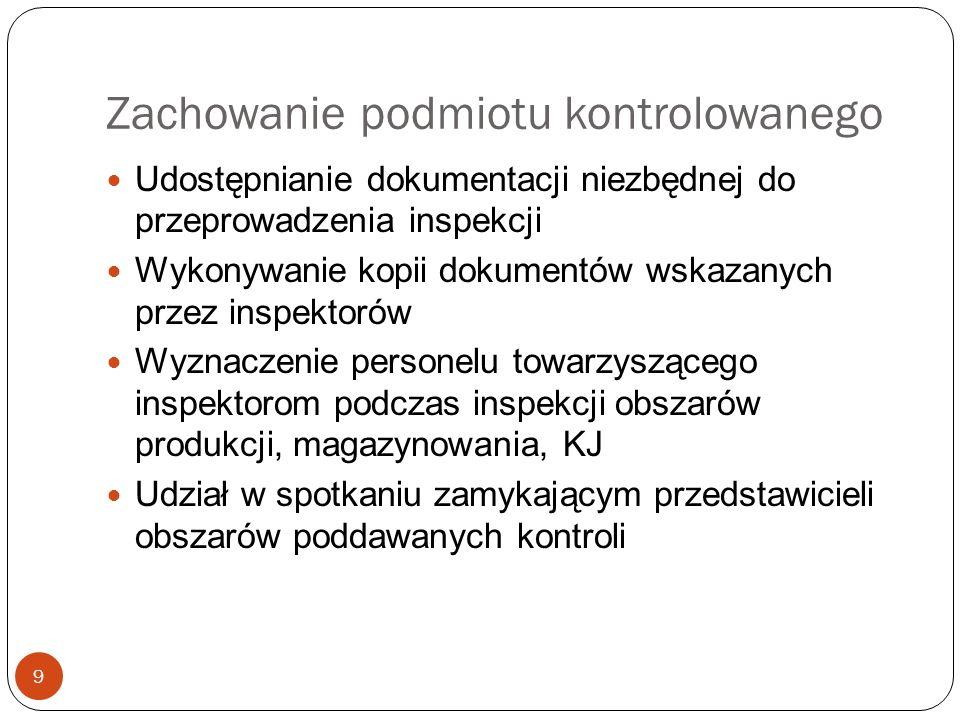 Zachowanie podmiotu kontrolowanego 9 Udostępnianie dokumentacji niezbędnej do przeprowadzenia inspekcji Wykonywanie kopii dokumentów wskazanych przez