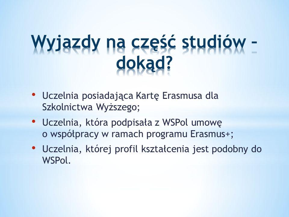 Uczelnia posiadająca Kartę Erasmusa dla Szkolnictwa Wyższego; Uczelnia, która podpisała z WSPol umowę o współpracy w ramach programu Erasmus+; Uczelnia, której profil kształcenia jest podobny do WSPol.