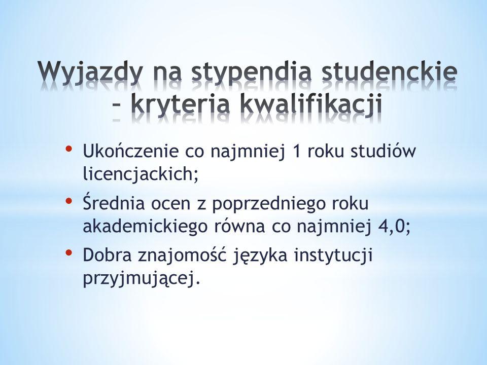 Ukończenie co najmniej 1 roku studiów licencjackich; Średnia ocen z poprzedniego roku akademickiego równa co najmniej 4,0; Dobra znajomość języka instytucji przyjmującej.