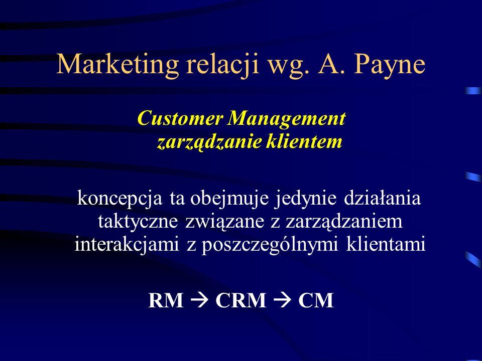 Marketing relacji wg. A. Payne Customer Management zarządzanie klientem koncepcja ta obejmuje jedynie działania taktyczne związane z zarządzaniem inte