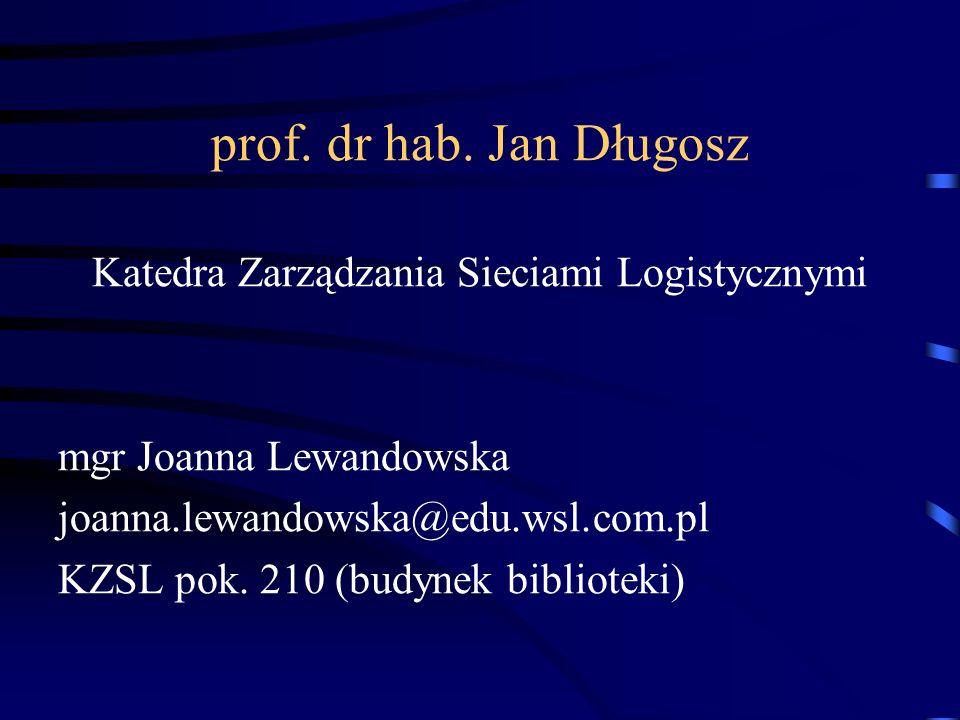 prof. dr hab. Jan Długosz Katedra Zarządzania Sieciami Logistycznymi mgr Joanna Lewandowska joanna.lewandowska@edu.wsl.com.pl KZSL pok. 210 (budynek b